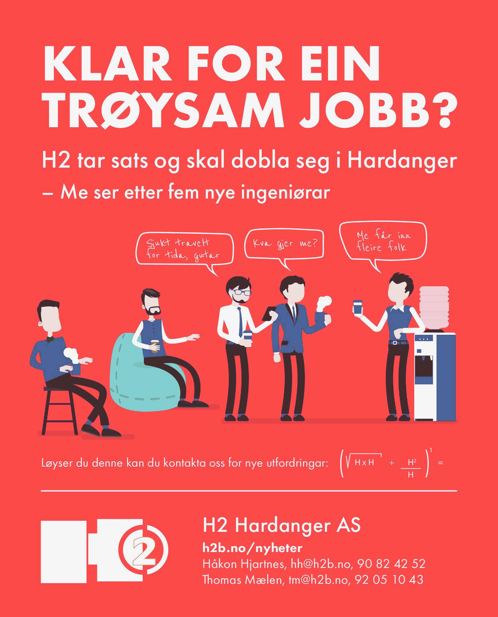 H2 tar sats i Hardanger