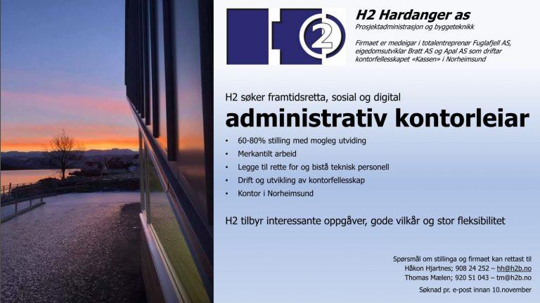 H2 Hardanger søker administrativ kontorleiar